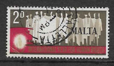 Single Used Malta Commemorative Postage Stamp - Human Rights Year 1968