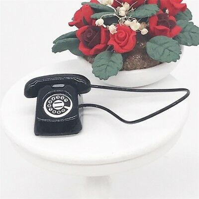 Miniature Metal Office Desk Phone Dial Telephone Dollhouse Furniture 1/12 Decor