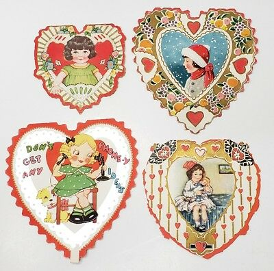 Vintage Valentines Cards Little Girls Victorian Style Adorable Lot of 3