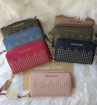7eb39f6f88a4 Michael Kors Grommet Leather Hayes Lg Flat Mf Phone Case Wallet Pastel Pink