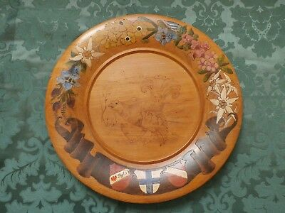 A Vintage large wood painted or decorated plate (decorative wooden plate)