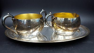Vintage WM A Rogers Silver Plated Open Sugar Bowl and Creamer with Oval Tray