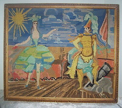 ANTIQUE ORIGINAL WORK of ART FRAMED NEEDLEPOINT OPERA SCENE DANCER & SOLDIER