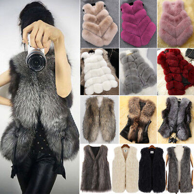 Women Faux Fur Jacket Coat Body Warmer Outwear Winter Slim Vest Waistcoat Gilet