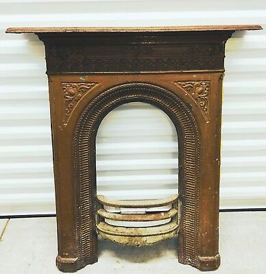 Antique English Cast Iron Fireplace Mantel ~Ornate Victorian Reclaimed c.~1890's