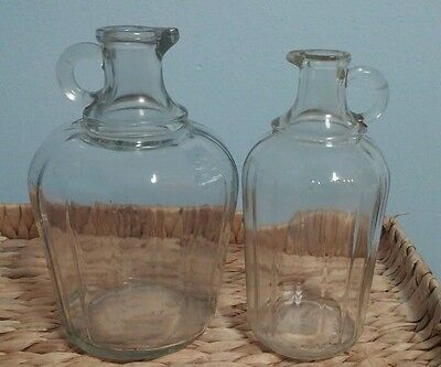 Pair of VTG cruet syrup oil vinegar pourers ribbed clear glass