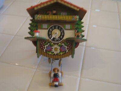 Vintage Swiss Chalet Miniature Novelty Cuckoo Clock With Lady On Swing Germany