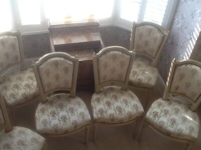 Set of 6 French vintage Louis XV style cream coloured dining chairs