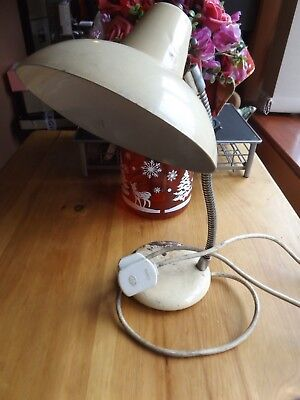 Vintage Retro Mid Century  Lamp cream enamel Desk Light