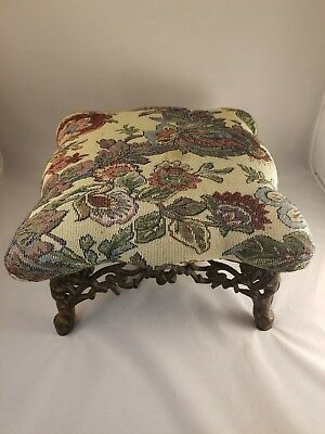 """Vintage Ornate Cast Iron Foot Stool / Ottoman 11"""" X 7"""" H. Flowered Cover"""