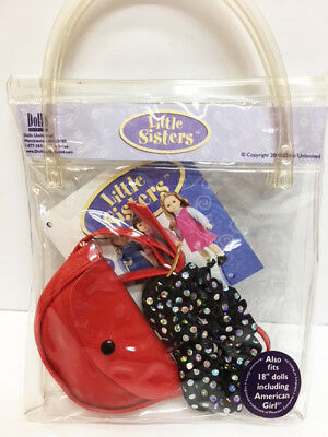 """New Little Sister's 18"""" American Girl Doll Red Purse Hairband In Clear Carry Bag"""