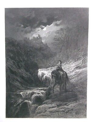 1867 steel engraving GUSTAVE DORE  THE MOONLIGHT RIDE