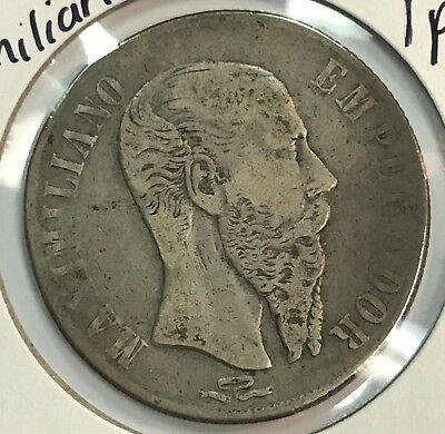 1866 Mexico Empire of Maximilian One Peso Silver Coin