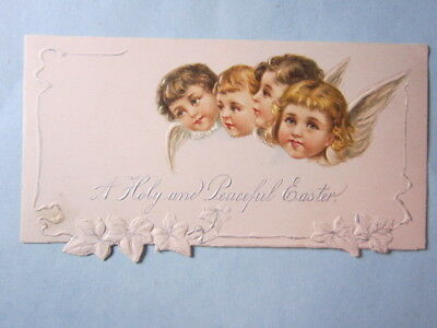Antique Card, 1904, A Holy and Peaceful Easter, Angel Faces, embossed