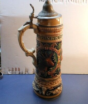 Vintage Stag And Hunting Dog German Beer Stein With Thumb Lift Lid