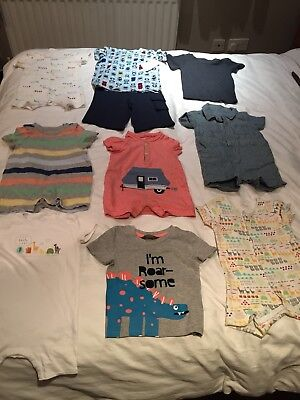 Bundle Of Baby Boys Clothes - Playsuits/T-shirts/shorts - 12-18 Months