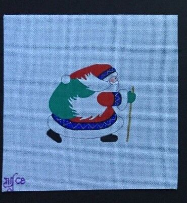 Beau Geste Hand-painted Needlepoint Canvas Santa in Red Coat & Hat/Blue Trim