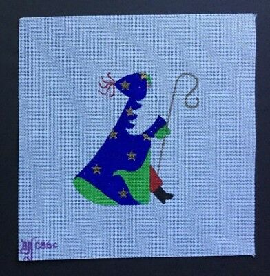 Beau Geste Hand-painted Needlepoint Canvas Santa in Blue Coat With Gold Stars