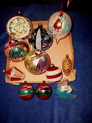 Lot Vintage Christmas Mercury Glass Mica Balls - Indent Teardrop  Germany Poland