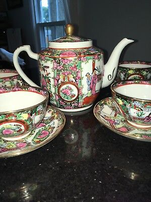 Vintage Famille Rose Medallion Teapot, 4 cups and 4 saucers Beautiful condition