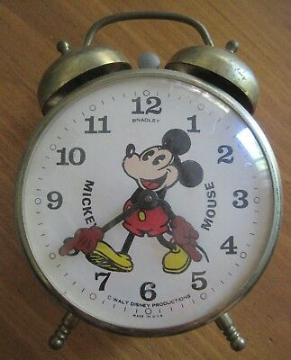 Vintage Bradley Mickey Mouse Alarm Clock Wind-up Twin Bell w/Mickey Mouse Hands