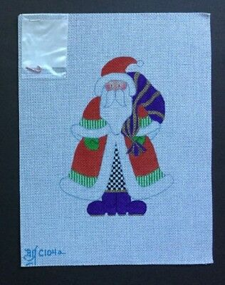 Beau Geste Hand-painted Needlepoint Canvas Santa in Red Coat & Checked Pants