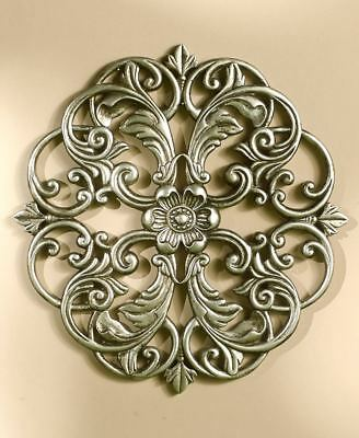 Scrolled Wall Round Metal Medallion Pewter Entryway Dining Living Home Decor