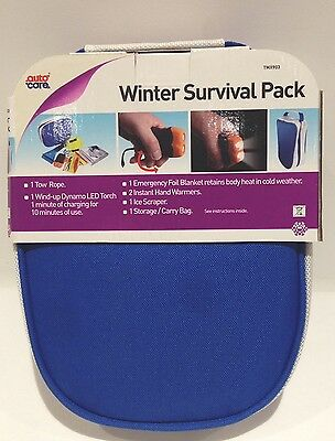 Winter Car Care Kit Survival Travel Portable Pack Easy Storage Zip up Bag New