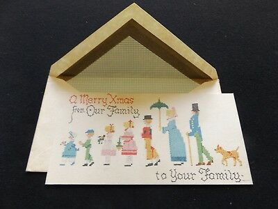 Unused Antique Vintage Merry Christmas Card & Matching Envelope