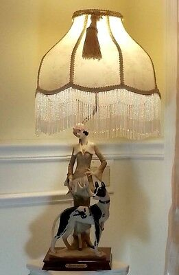"""Dynasty Industry Table Lamp Sculptured Lady W Dog Figurine Signed Electric 28""""H"""