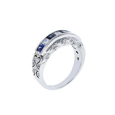 18k White Gold Diamond Blue Sapphire Antique Band 0.75ct TDW Size 5 100% REAL