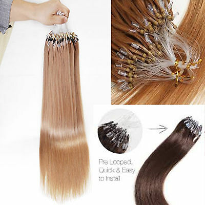 "16""-24"" 1G Double Drawn Micro Loop Russian Straight Remy Human Hair Extensions"