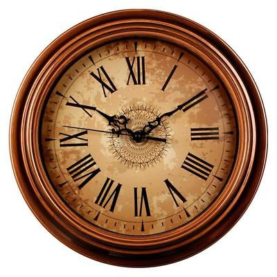 1X(12-inch Silent Non-Ticking Round Wall Clocks,Decorative Vintage Style Ro J7G3