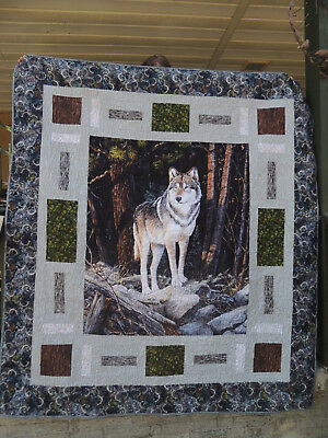 Wolf Cubbyhole Quilt, Solitary Sentinel