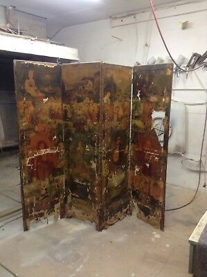 Antique Rare  Large Four Panel  Screen/ Room Divider In Need Of Restoration