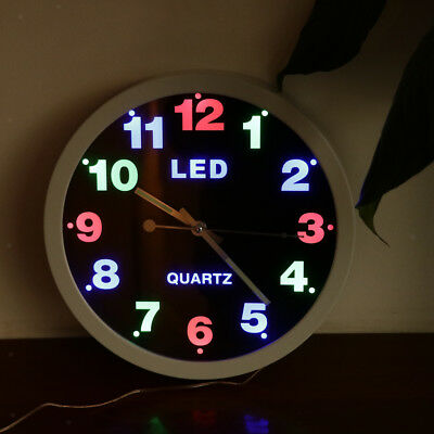 Modern Home Furnishing LED Color Light Wall Clock for Home Office Decor