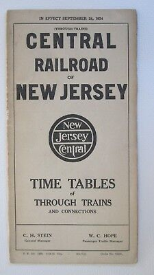 Central Railroad of New Jersey 1924 Timetable of Through Trains