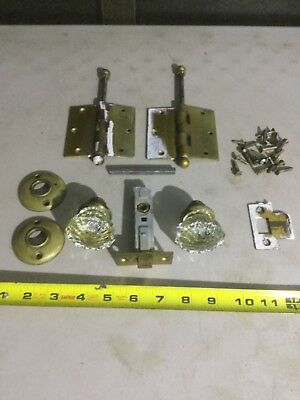Vintage Glass Door Knob Lot with Hinges / Original Hardware - Antique Doorknobs