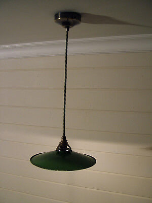 Vintage French green enamel metal coolie shade light fitting, rewired