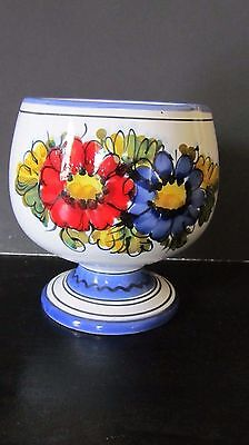 Vintage Round Hand Painted Vase, Made In Italy