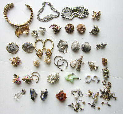 Large lot of vintage earrings and bracelets