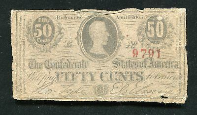 1863 50 Fifty Cents Csa Confederate States Of America Currency Note