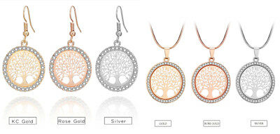 Tree of Life Crystal Round Small Pendant Necklace Gold Silver Colors