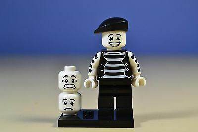 New Genuine LEGO Mime Minifig with Two Extra Heads Series 2 8684