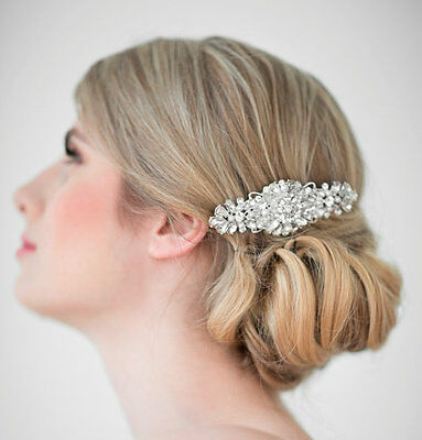Bridal Rhinestones Crystal Diamante Vintage Headpiece Pearls Wedding Hair Comb
