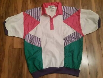 Vtg Casual Isle Windbreaker Pullover Short Sleeve Shirt Pink Womens Size Large L