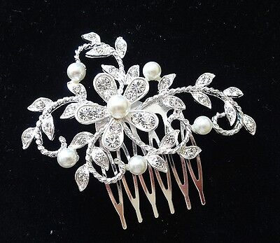 Wedding Bridal Hair Comb Headpiece Crystal Flower Silver White Pearl Rhinestones