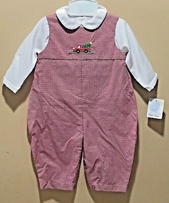 Nwt Christmas Tree Truck Outfit By Petit Ami-6 Mos