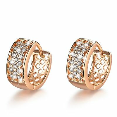 18k yellow white gold gf 2-tone huggies made with Swarovski crystal earrings