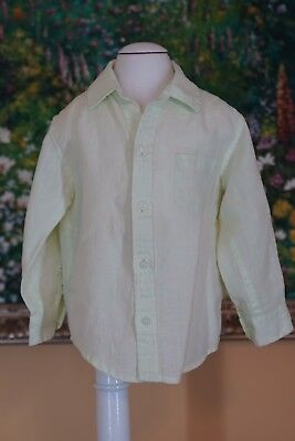 JANIE AND JACK Size 18 24 Months Boys 100% Linen Long Sleeved Shirt EUC Green
